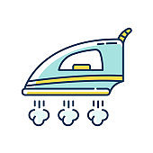 Ironing blue and yellow RGB color icon. Laundry service, flatiron, fabric care. Smoothing iron with steam, household appliance, electrical manual machine. Isolated vector illustration