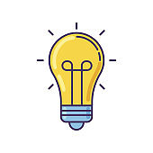 Light bulb yellow RGB color icon. Idea emoji. Inspiration sign. Glowing lightbulb. Think of solution. Incandescent lamp. Imagination and intelligence symbol. Isolated vector illustration
