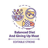 Balanced diet and giving up meat concept icon. No animal food. Nutritious diet. Organic meal. Going vegan idea thin line illustration. Vector isolated outline RGB color drawing. Editable stroke
