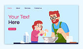 Cooking with kids landing page vector template. Home culinary website interface idea with flat illustrations. Preparing dinner together homepage layout. Family leisure cartoon web banner, webpage
