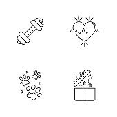 Lifestyle pixel perfect linear icons set. Gym workout. Cardio healthcare. Pet paw prints. Open gift. Customizable thin line contour symbols. Isolated vector outline illustrations. Editable strokes