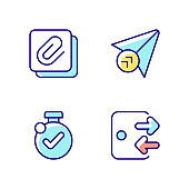 Mobile application interface RGB color icons set
