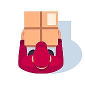 Deliver parcel semi flat RGB color vector illustration