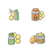 Natural bee products RGB color icons set
