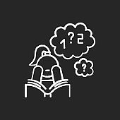 Poor concentration chalk icon. Math problem solving. Algebra studying. Wandering focus. Boring read. Attention deficit. Low motivation. Girl with ADHD. Isolated vector chalkboard illustration