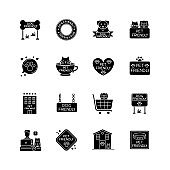 Pet friendly signs black glyph icons set on white space. Cats and dogs allowed territories and institutions. Domestic animals welcome public places. Silhouette symbols. Vector isolated illustration