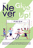 Never give up brochure template. Marathon finish. City footrace. Flyer, booklet, leaflet concept with flat illustrations. Vector page cartoon layout for magazine. Motivational poster with text space