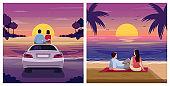 Couple watch sunset semi flat vector illustration set