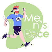 Mens race flat vector illustration. Marathon training. Male athlete, competitor. Running guy cartoon character on sage color with typography. Poster, social media post, print isolated design element