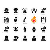 Human feelings black glyph icons set on white space