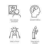 Mental disorder linear icons set. Delusional person. Schizophrenia. Panic attack. Parkinson disease. Dementia. Thin line contour symbols. Isolated vector outline illustrations. Editable stroke