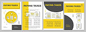 Paying taxes brochure template. Taxation percentage. Flyer, booklet, leaflet print, cover design with linear illustrations. Vector page layouts for magazines, annual reports, advertising posters