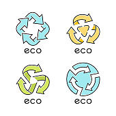 Eco labels blue color icons set. Arrows signs. Recycle symbols. Alternative energy. Environmental protection emblems. Organic products. Eco friendly chemicals. Isolated vector illustrations