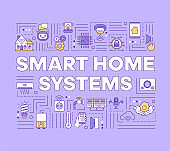 Smart home systems word concepts banner. Climate control. Security system. Wireless technology. Presentation, website. Isolated lettering typography idea with linear icons. Vector outline illustration