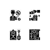 Crowdfunding issues black glyph icons set on white space
