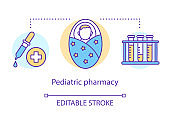 Pediatric pharmacy concept icon. Children medication treatment idea thin line illustration. Vaccination and illness medicine for babies. Young age prescription. Vector isolated drawing Editable stroke