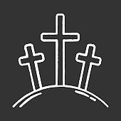 Calvary hill chalk icon. Three crosses at Golgotha mountain. Crucifixion of Jesus Christ. Good Friday. New Testament. Bible narrative. Christian symbol. Isolated vector chalkboard illustration