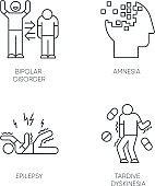 Mental disorder linear icons set. Bipolar disorder. Amnesia. Memory loss. Epileptic seizure. Tardive dyskinesia. vThin line contour symbols. Isolated vector outline illustrations. Editable stroke