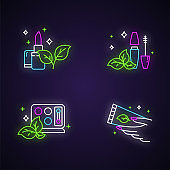 Organic cosmetics neon light icons set. Lipstick. Mascara. Eyeshadow kit. Hand cream. Eco makeup items. Skincare. Natural beauty products. Paraben free. Glowing signs. Vector isolated illustrations