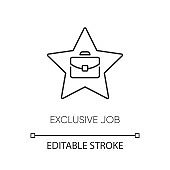 Exclusive job pixel perfect linear icon. Thin line customizable illustration. Limited work offer. Career opportunity contour symbol. Star and briefcase vector isolated outline drawing. Editable stroke