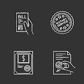 Notary services chalk white icons set on black background. Apostille and legalization. Notarized document. Stock certificate. Bill, receipt. Stamp. Validation. Isolated vector chalkboard illustrations