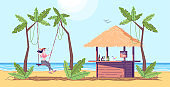 Woman on swing flat doodle illustration. Tourist next to beach bar. Girl having fun on sea shore. Exotic country. Seaside. Indonesia tourism 2D cartoon character with outline for commercial use