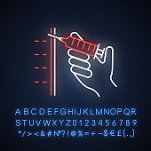 Injection neon light icon. Syringe with vaccine. Immunization. Medical procedure. Disease prevention. Cosmetical filler. Glowing sign with alphabet, numbers and symbols. Vector isolated illustration