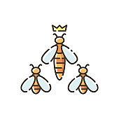 Queen bee RGB color icon