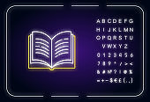 Open book neon light icon. Dictionary page. Write university paper. Notebook and textbook. Outer glowing effect. Sign with alphabet, numbers and symbols. Vector isolated RGB color illustration
