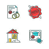 Notary services RGB color icons set. Apostille and legalization. Divorce. Diploma. Real estate litigation. Lease dipute. Wax seal. Notarized document. Isolated vector illustrations