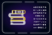 Book pile neon light icon. Stack of textbooks. School assignment. Self education and knowledge. Outer glowing effect. Sign with alphabet, numbers and symbols. Vector isolated RGB color illustration