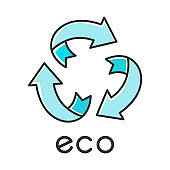 Eco label color icon. Three blue rounded arrow signs. Recycle symbol. Alternative energy. Environmental protection sticker. Eco friendly chemicals. Organic cosmetics. Isolated vector illustration