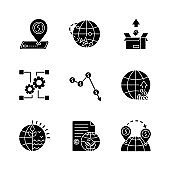 Global trade, export and investments black glyph icons set on white space. Taxes and non-tariff barriers, international agreements and goods delivery. Silhouette symbols. Vector isolated illustration