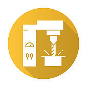 Steel industry yellow flat design long shadow glyph icon. Metal, iron production technology. Metallurgy. Professional machinery. Factory equipment. Engineering business. Vector silhouette illustration