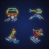Extreme winter activity neon light icons set. Risky sport hobby, adventure. Cold season outdoor leisure and recreation. Ice driving, heli skiing. Glowing signs. Vector isolated illustrations