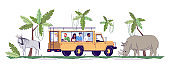 Safari trip flat doodle illustration. Group of people observing wild animals from vehicle in jungle. Wildlife conservation park. Indonesia tourism 2D cartoon character with outline for commercial use