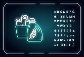 Fabric softener neon light icon. Cleaning product, laundry detergent conditioner bottle. Outer glowing effect. Sign with alphabet, numbers and symbols. Vector isolated RGB color illustration