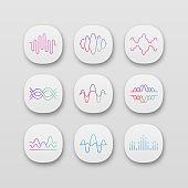 Sound and audio waves app icons set. UI/UX user interface. Voice recording, radio signal waveform. Digital soundwaves. Melody amplitudes levels. Web, mobile applications. Vector isolated illustrations