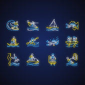 Watersports neon light icons set. Cave diving, kiteboarding, flyboarding and jet skiing. Cliff jumping and paddle surfing. Extreme kinds of sport. Glowing signs. Vector isolated illustrations