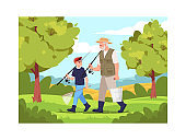 Family going fishing together semi flat vector illustration