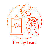 Healthy heart, medical treatment concept icon. Healthcare idea thin line illustration. Diseases diagnostics center logo. Clipboard with cardiogram and check mark vector isolated outline drawing
