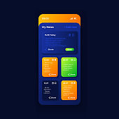 Personal organizer app smartphone interface vector template