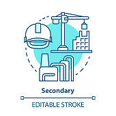 Secondary blue concept icon. Processing and manufacturing industry idea thin line illustration. Economy sector. Heavy and light industry. Vector isolated outline drawing. Editable stroke