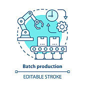 Batch production blue concept icon. Manufacturing method idea thin line illustration. Mass production process. Serial manufacture. Machinery equipment. Vector isolated outline drawing. Editable stroke