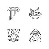 Peru pixel perfect linear icons set. Siku, ceviche, jaguar, chullo hat. Customs of andean culture. Customizable thin line contour symbols. Isolated vector outline illustrations. Editable stroke