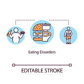 Eating disorders concept icon. Mental illness idea thin line illustration. Anorexia. Bulimia. Overweight. Psychological problems. Vector isolated outline RGB color drawing. Editable stroke