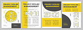 Project pipeline management brochure template layout. Flyer, booklet, leaflet print design with linear illustrations. Business development. Vector page layouts for magazines, annual reports, posters