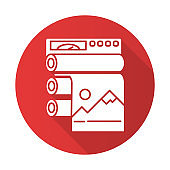Publishing industry red flat design long shadow glyph icon. Printing equipment. Industrial paper press. Machinery to produce polygraphy. Automated production process. Vector silhouette illustration