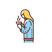 Girl with hot drink in mug RGB color icon