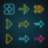 Right arrows neon light icons set. Forward, curved, dotted, twisted next, forward arrows. Marker, indicator. Movement sign. Arrowhead indicating rightward. Glowing signs. Vector isolated illustrations